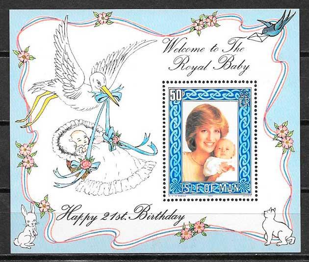 filatelia Diana de Gales Isla de Man 1982