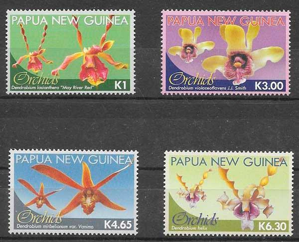 colección sellos orquídeas Papua Nueva Guinea 2010