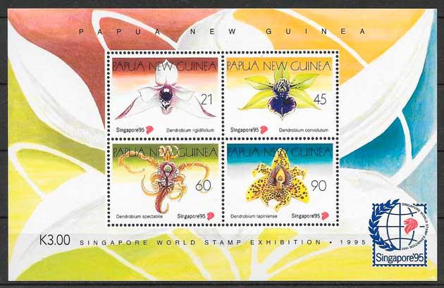filatelia colección orquídeas Papua y Nueva Guinea 1995