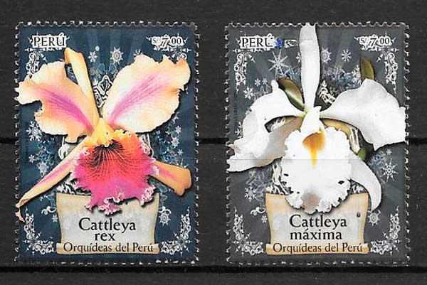 colección sellos orquídeas Perú 2008