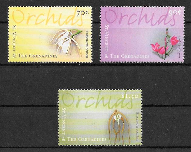 filatelia colección orquídeas San Vincent y Grenadinas 2000
