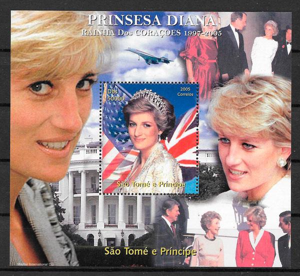 filatelia Lady Di Santo Tomé y principie 2005