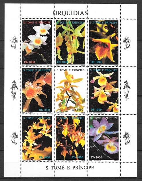 colección sellos orquídeas Santo Tome y Príncipe 1998