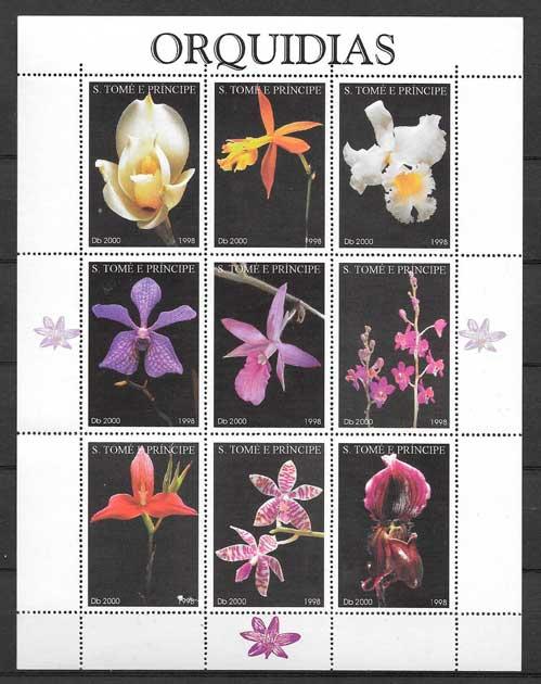 colección sellos orquídeas 1998 Santo Tome y Príncipe