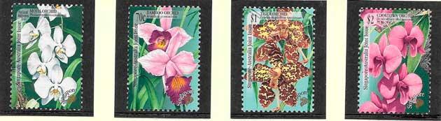 colección sellos orquídeas Singapur 1998