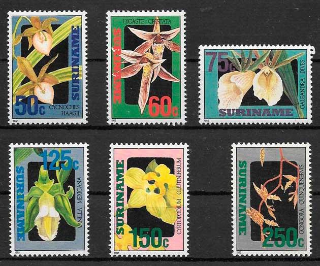 colección sellos orquídeas Suriname 1992