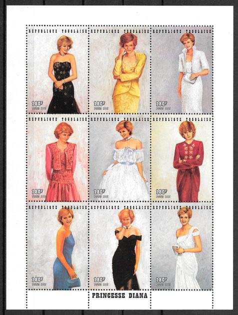 filatelia colección Lady Di Togo 1997