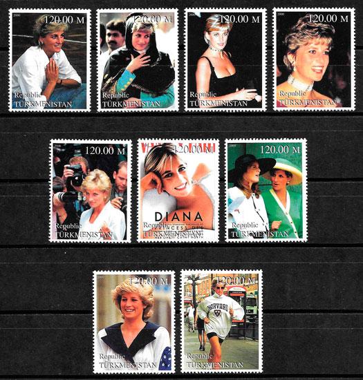 colección sellos Diana de Gales Turkmenistán