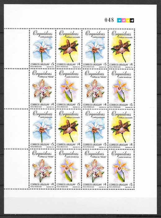 filatelia orquídeas Uruguay 2000