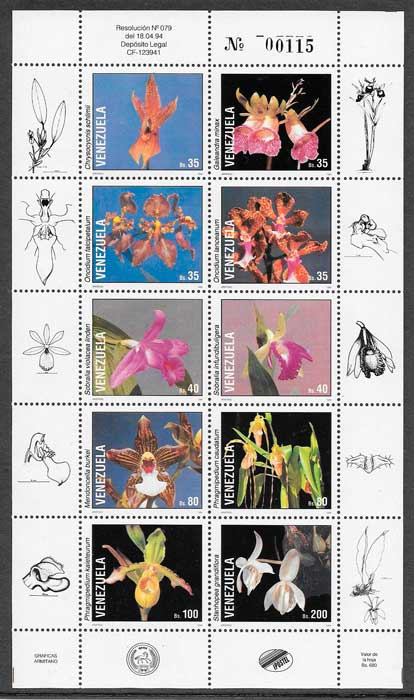 filatelia orquídeas Venezuela 1994