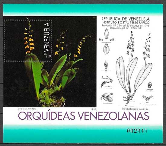 filatelia orquídeas Venezuela 1998