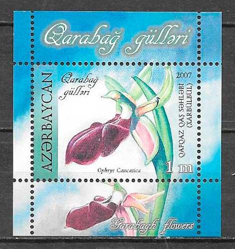 sellos orquídeas Azerbaiyán 2007