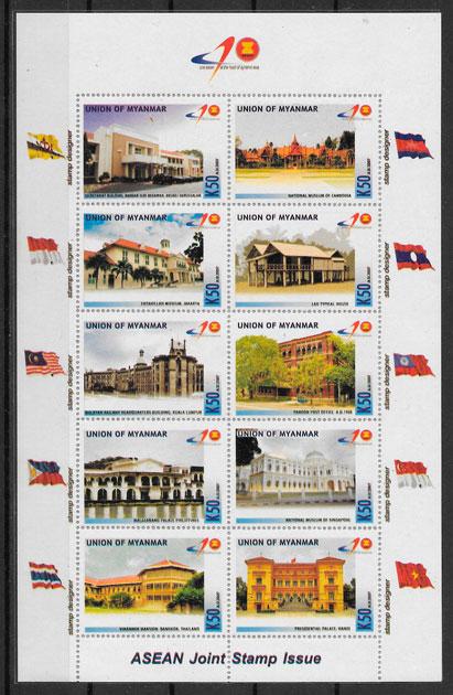 sellos emisiones conjunta Birmania 2007