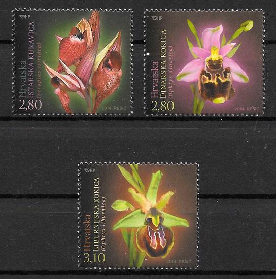 filatelia orquídeas Croacia 2014