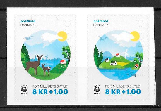 colección sellos emiiones conjunta Dinamarca 2015