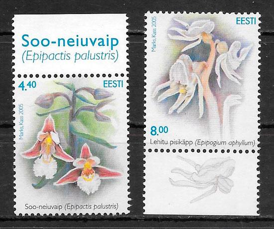 sellos orquídeas Estonia 2005