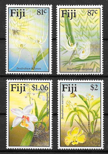 filatelia colección orquídeas Fidji 1998