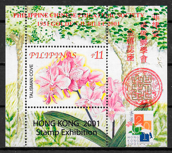 sellos orquídeas Filipinas 2001
