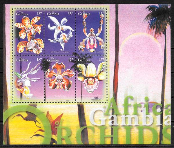 filatelia orquídeas Gambia 2001
