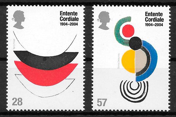 colección sellos emisiones conjunta Gran Bretaña 2004