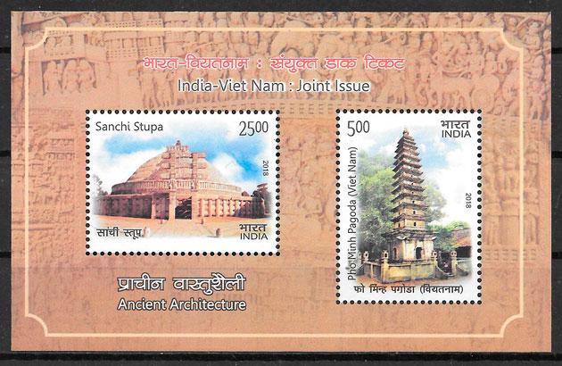 colección sellos emisiones conjunta India 2018