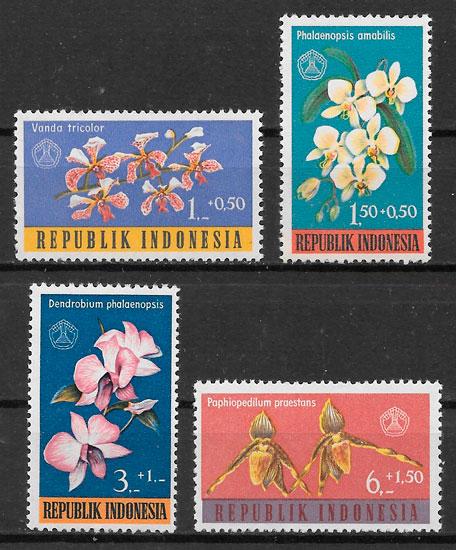 sellos orquídeas Indonesia 1962