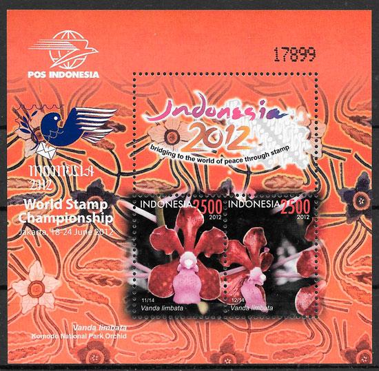 colección sellos orquídeas Indonesia 2012