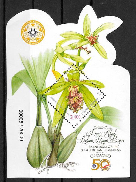 filatelia colección orquídeas Indonesia 2014