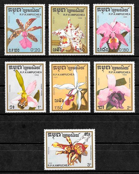 colección sellos orquídeas Kampuchea 1988