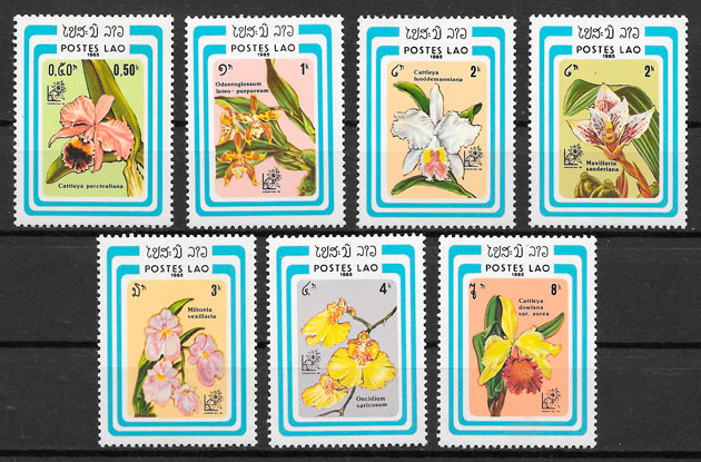 colección sellos orquídeas 1985 Laos