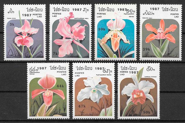 filatelia orquídeas Laos 1987