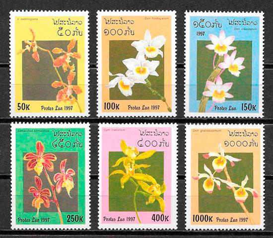 filatelia orquídeas Laos 1997
