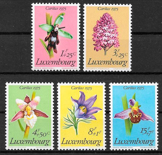 sellos orquídeas Luxemburgo 1975