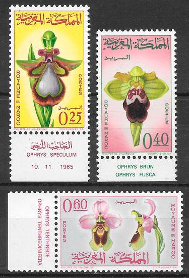 sellos orquídeas Marruecos 1965