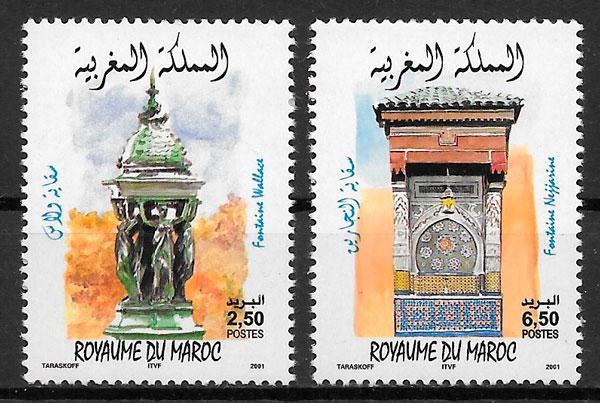 colección sellos emisones conjunta Marruecos 2001