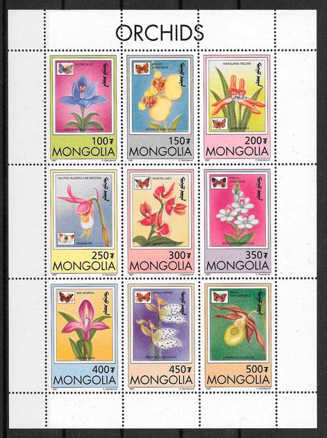 sellos orquídeas Mongolia 1995