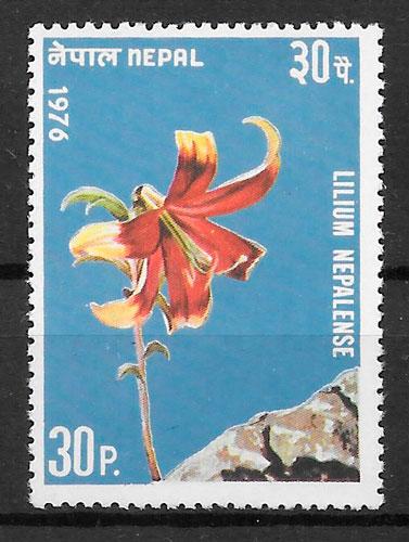 filatelia colección orquídeas Nepal 1976