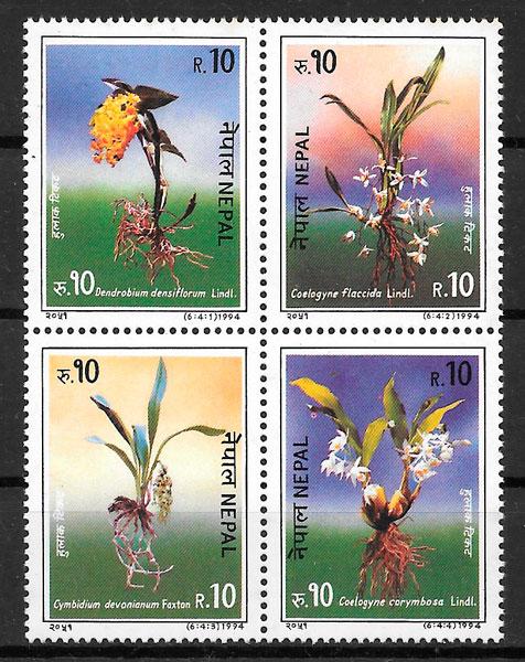 filatelia orquídeas 1994 Nepal