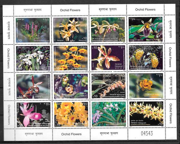 sellos orquídeas Nepal 2007