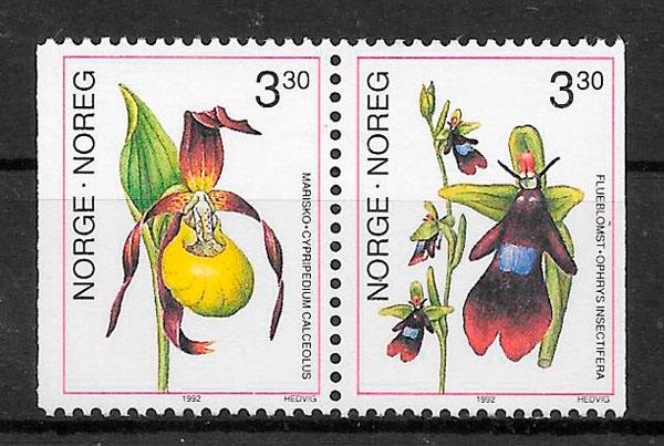 filatelia orquídeas Noruega 1992