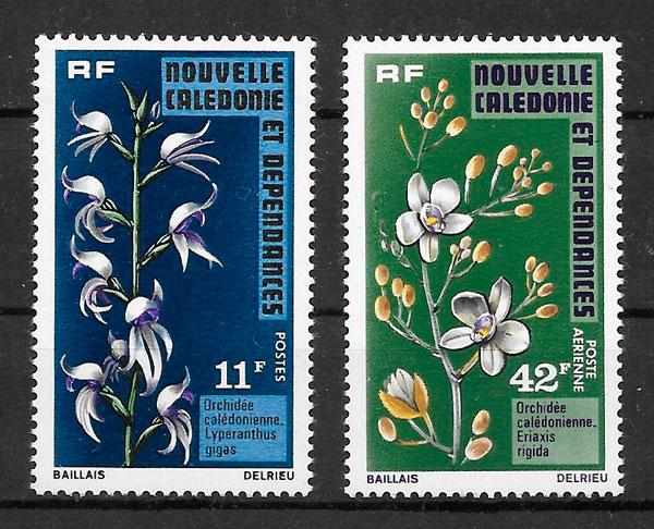 sellos orquídeas Nueva Caledonia 1975