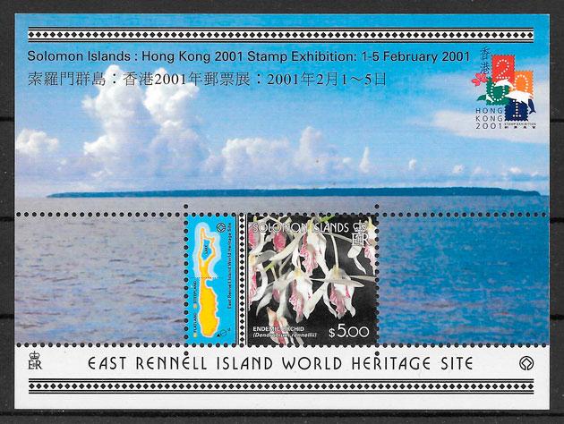 filatelia colección orquídeas Salomon Islands 2001