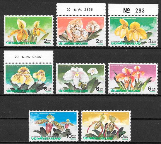 colección sellos orquídeas Tailandia 1992