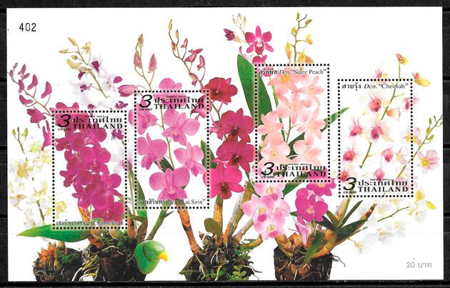 filatelia colección orquídeas Tailandia 2011