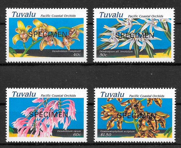 sellos orquídeas Tuvalu 1995