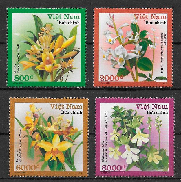 colección sellos orquídeas Viet Nam 2008