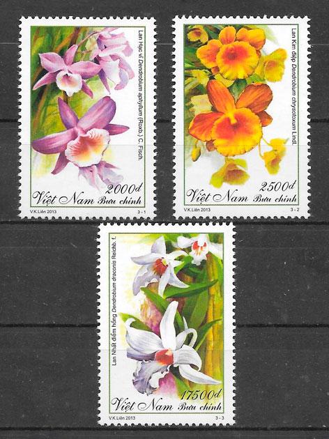 colección sellos orquídeas Viet Nam 2013