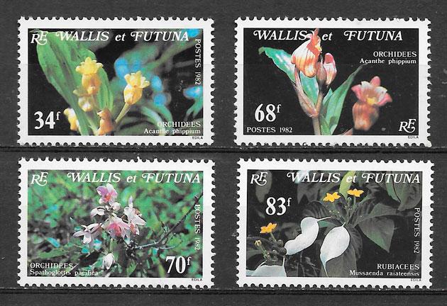 sellos orquídeas Walles y Fotuna 1982