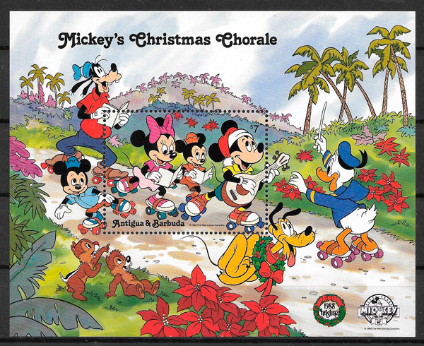 sellos Disney Antigua 1988