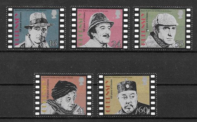 colección sellos cine Guernsey 1996